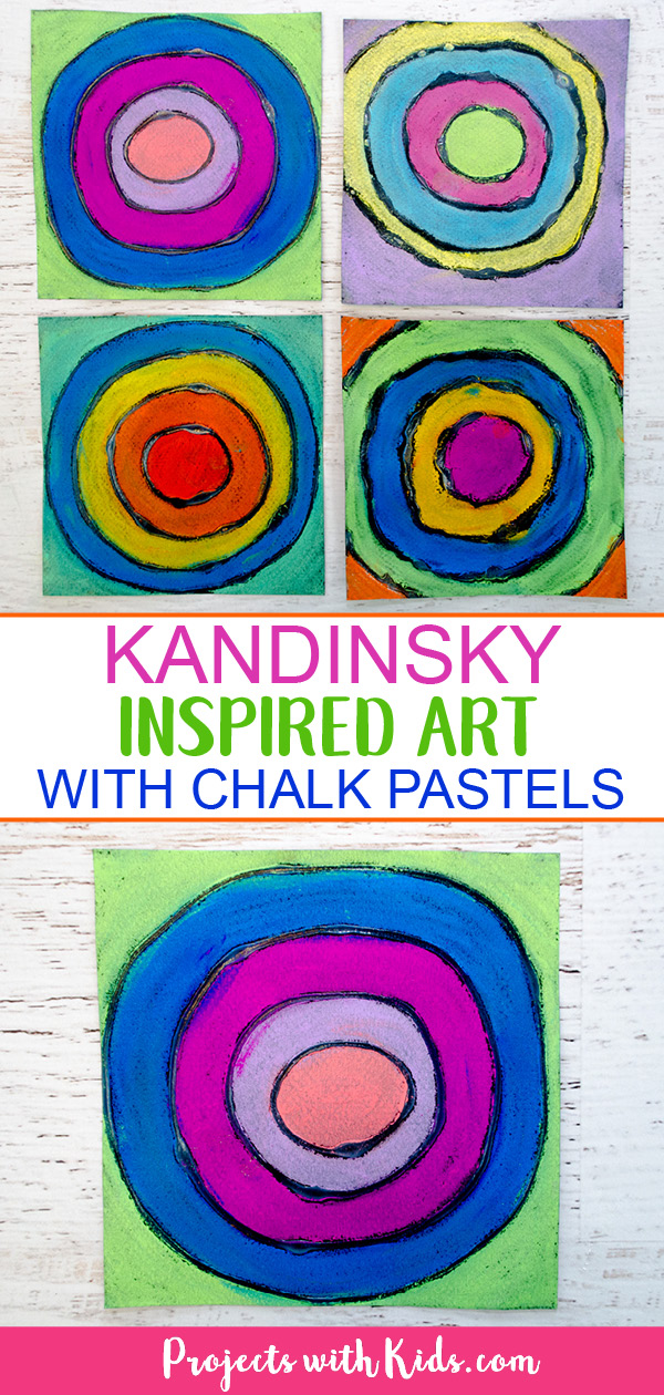 Create easy Kandinsky art for kids using chalk pastels and glue! Learn this simple pastel technique to make colorful circle art that kids will love! #projectswithkids #kidsart #chalkpastels #kandinsky