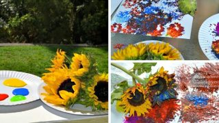 Preschool Painting with Flowers