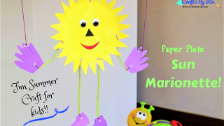 Fun Summer Craft For kids- Paper Plate Sun Marionette