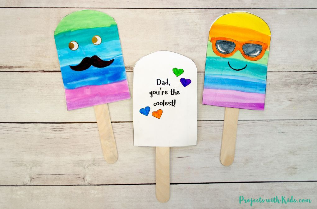 image regarding Popsicle Printable called Uncomplicated Popsicle Fathers Working day Card Craft with Printable