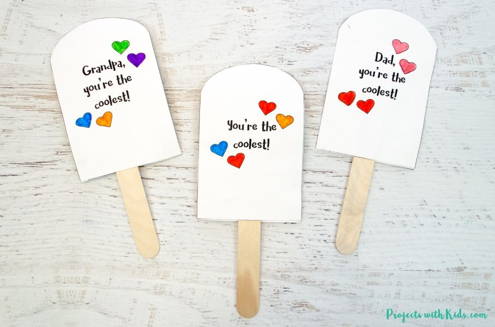 Back of the printable popsicle father's day cards.