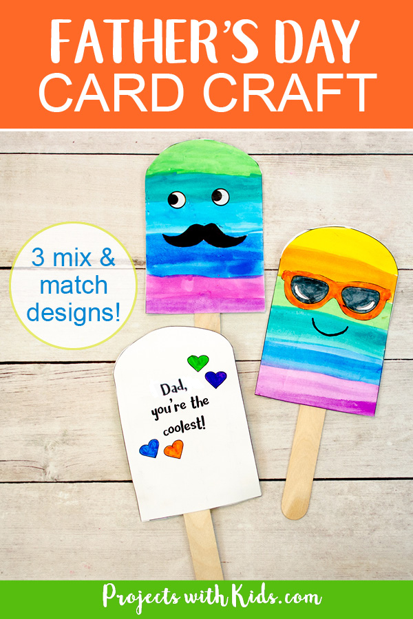 Small Pinterest image of Father's Day card craft.