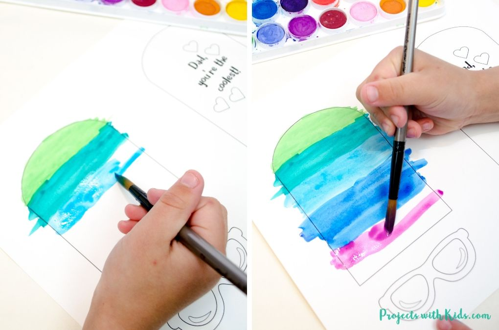 Start painting your father's day card with watercolors.