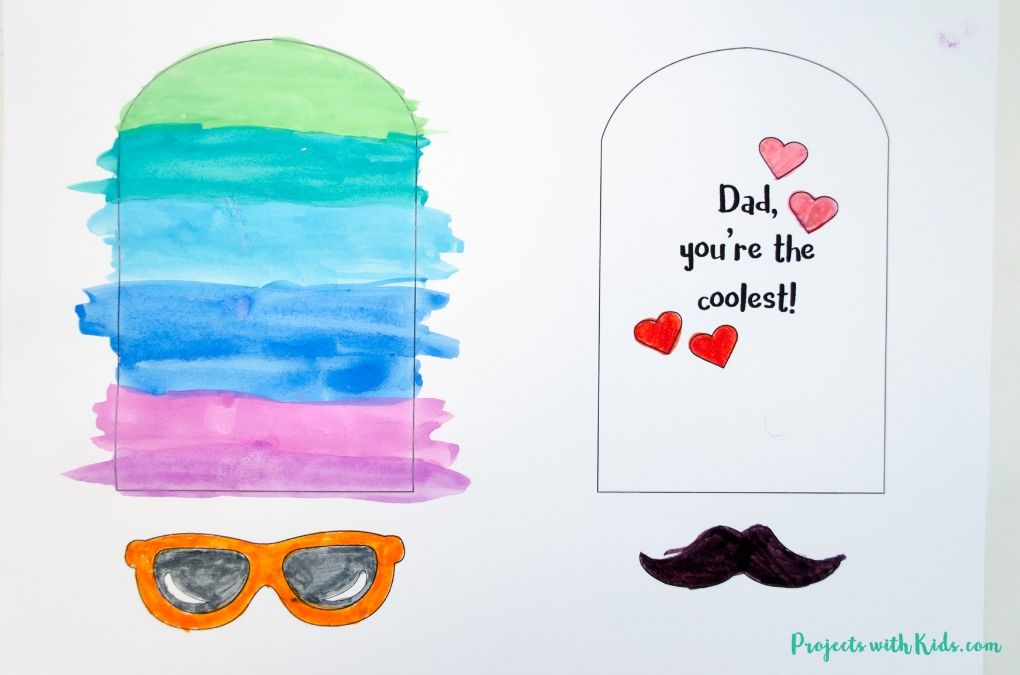 Image of the finished painting and coloring of the popsicle Father's Day card.
