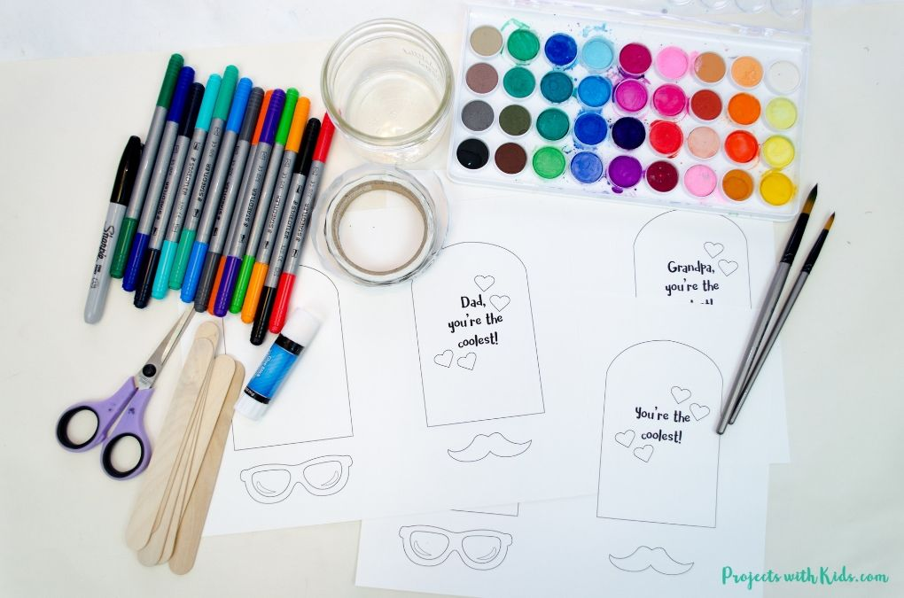 Supplies needed to make a printable Father's Day card.