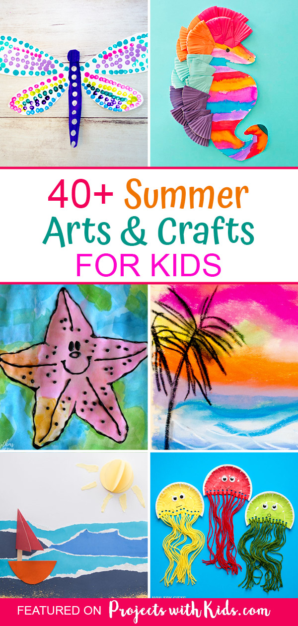 Pinterest image for a collection of summer arts and crafts.