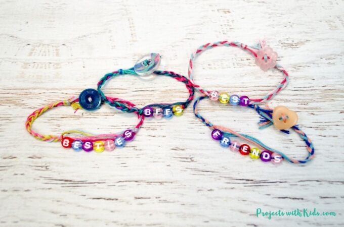Braided friendship bracelets with letter beads