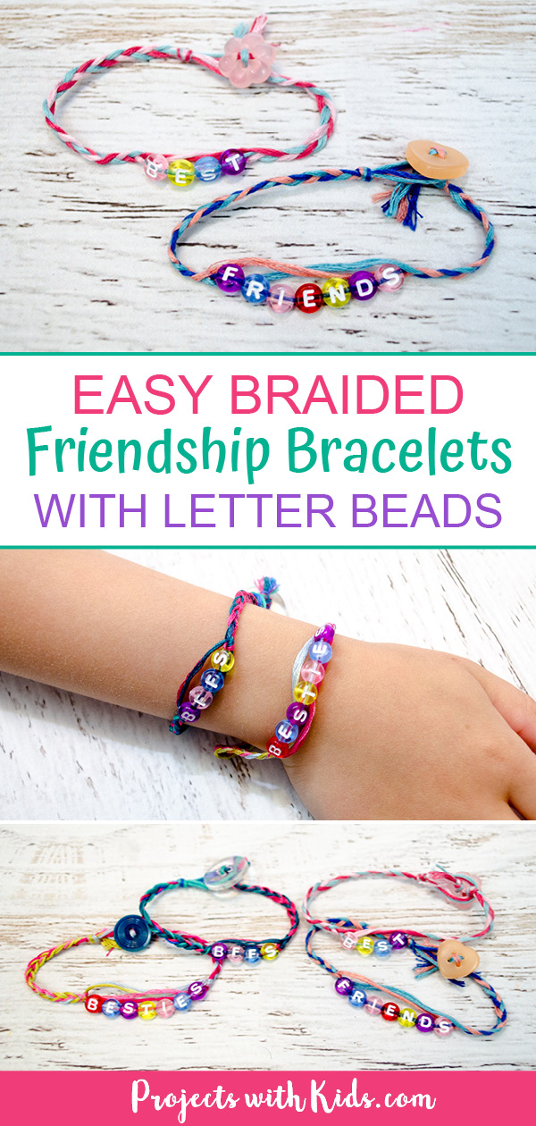 Braided friendship bracelets with embroidery thread and letter beads pinterest image