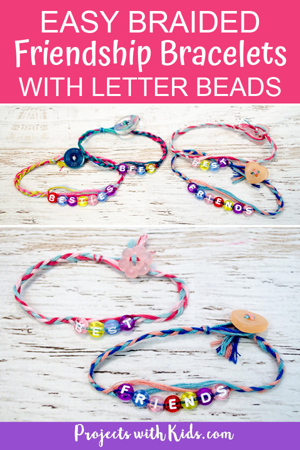 Friendship bracelets made with embroidery thread, letter beads and buttons, braided.