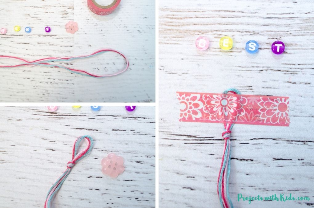 String with a knot in one end and beads to make a bracelet.