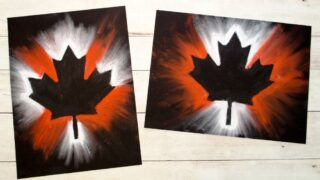 Canada Day Chalk Pastel Art Project for Kids