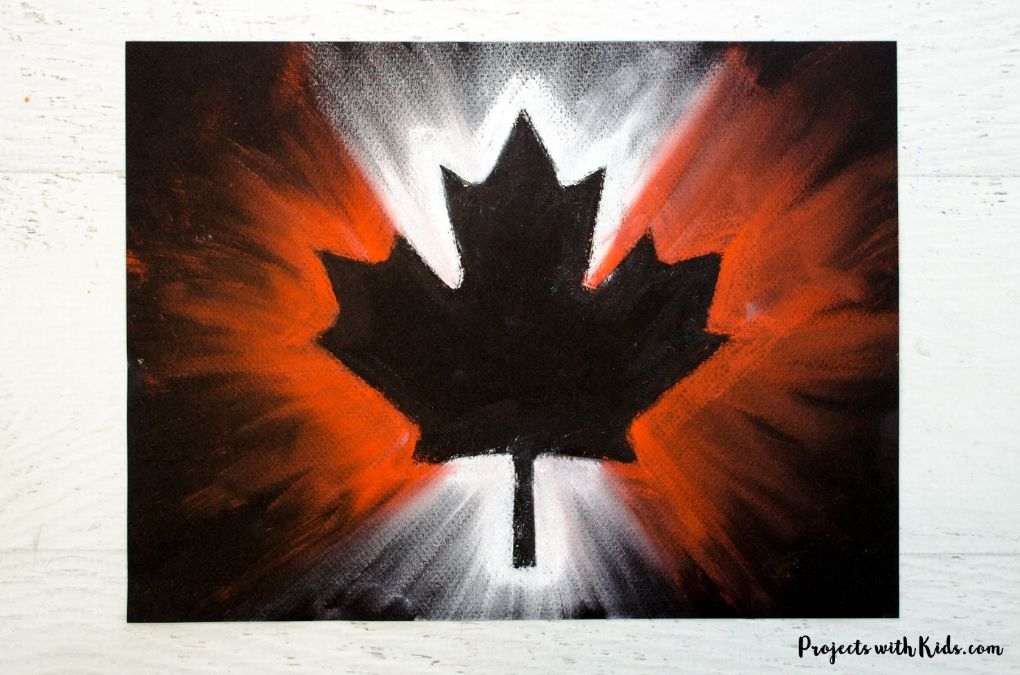 Chalk pastel Canada Day art.