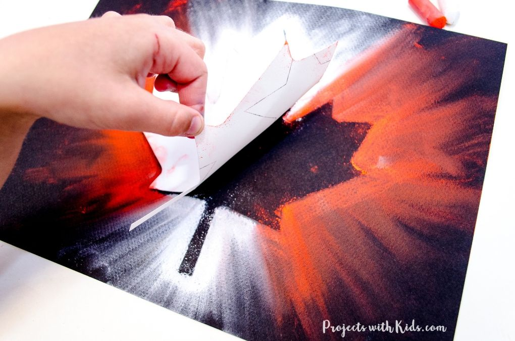Finishing a maple leaf chalk pastel painting.