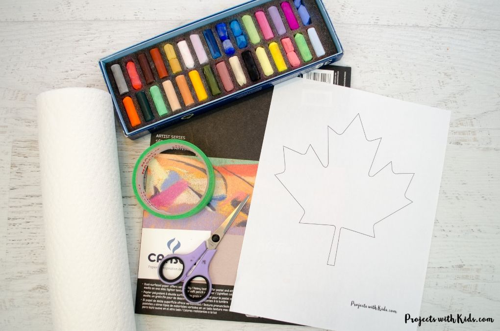 Supplies needed to create a chalk pastel art project.