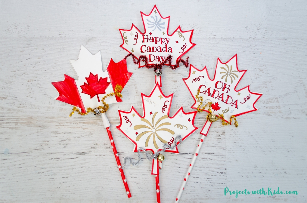 photograph regarding Printable Craft for Kids called Canada Working day Printable Wand Craft for Small children in the direction of Produce Tasks