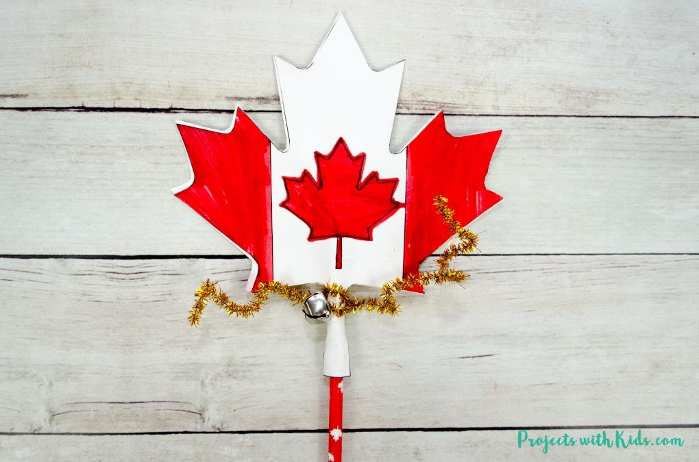 Finished image of a Canada Day printable wand craft