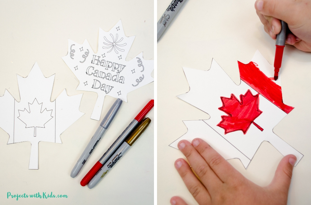Coloring a Canada Day printable
