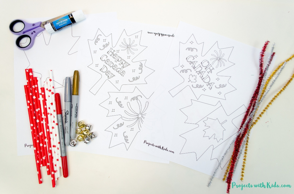Canada day printables and supplies needed for wand craft