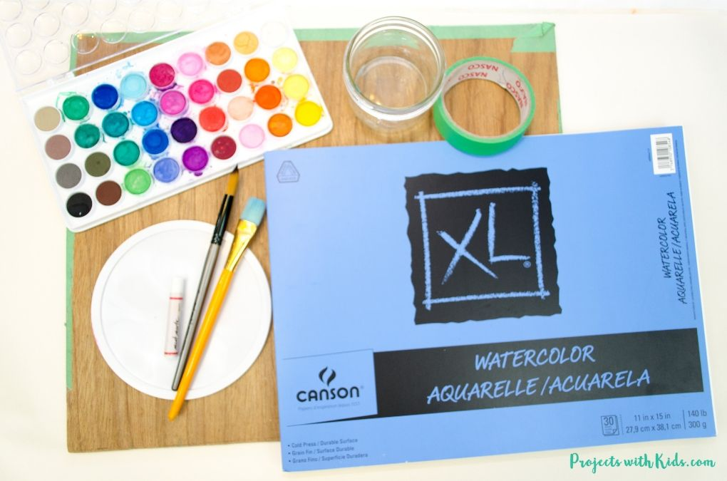 Supplies needed to make a watercolor resist painting.