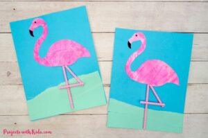 flamingo scrape painting project finished image