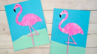 Colorful Flamingo Scrape Painting with Printable