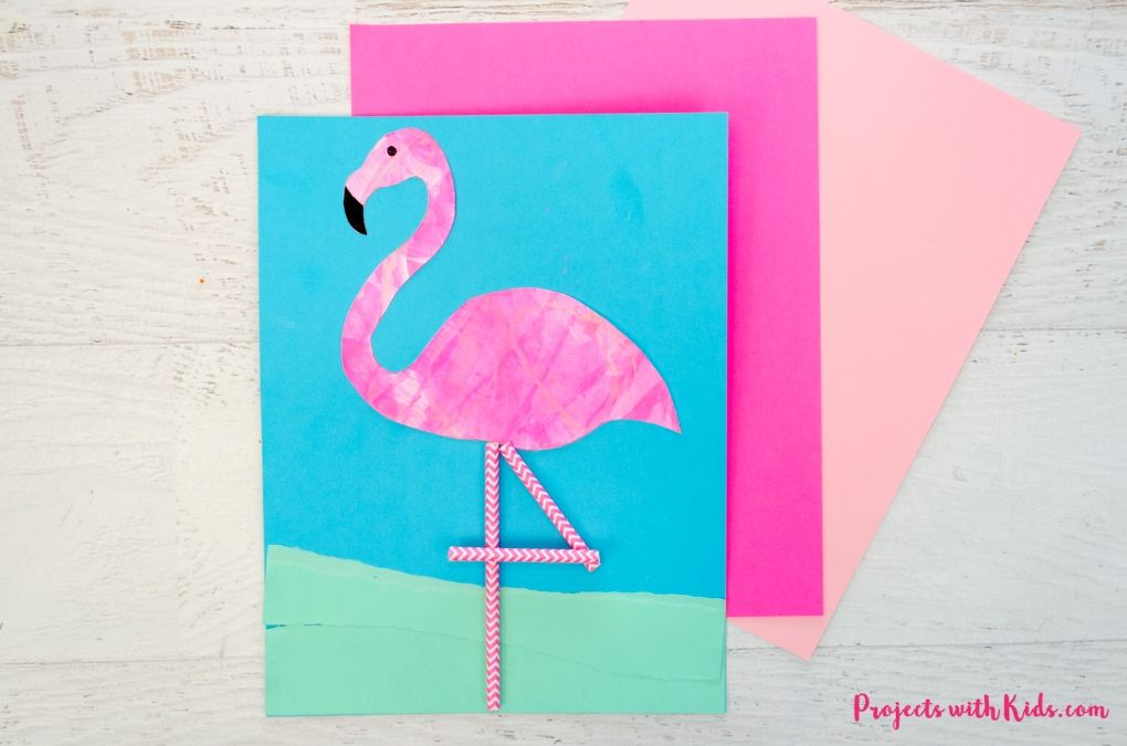 flamingo art project using scrape painting, torn paper, and paper straws.