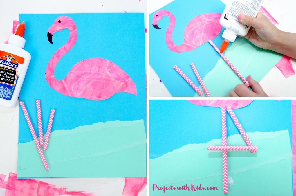 Gluing down pink paper straws to make flamingo legs.