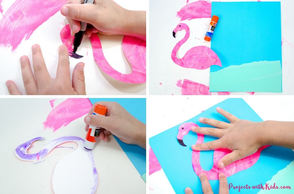 Using black sharpie to add on a beak and eye to a flamingo, glueing down the flamingo cutout to blue paper.