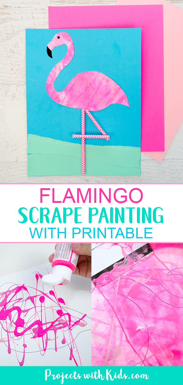 Pinterest image of flamingo art project with scrape painting.