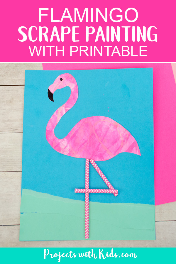 Pinterest image of flamingo art project