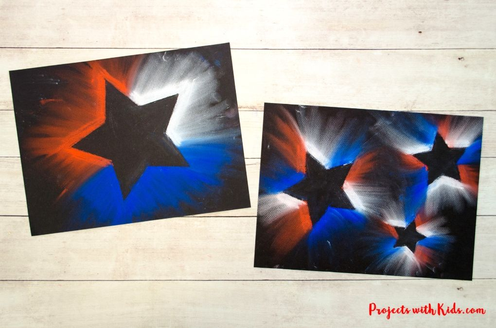 Red, white and blue stars-4th of July pastel art
