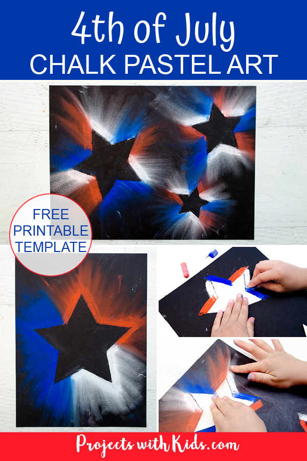 4th of July chalk pastel art project Pinterest image