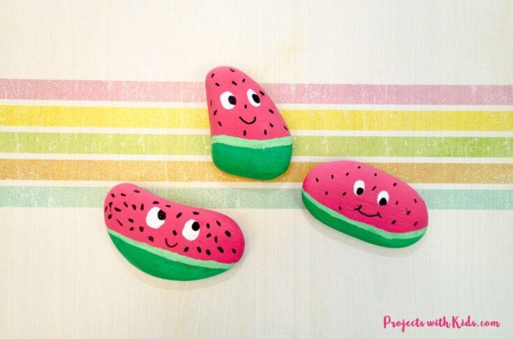 Watermelon painted rocks