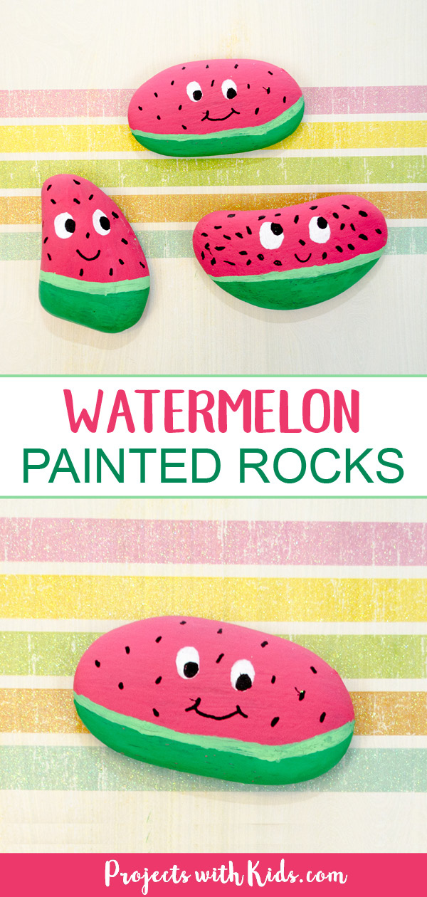 Watermelon painted rocks pinterest image