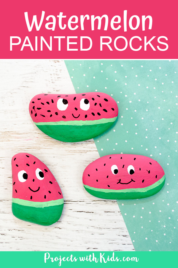 Pinterest image of watermelon painted rocks.