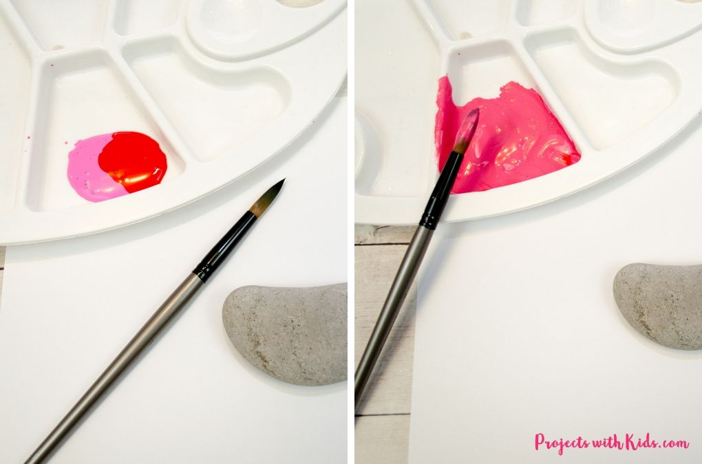 Mixing red and pink paint together