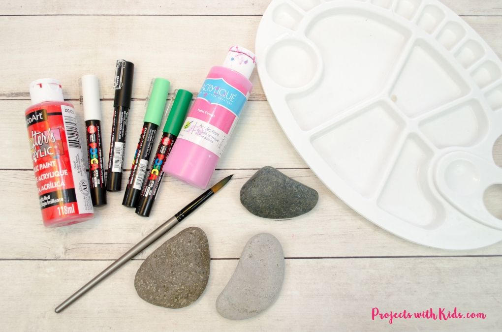 Supplies needed for painting watermelon rocks