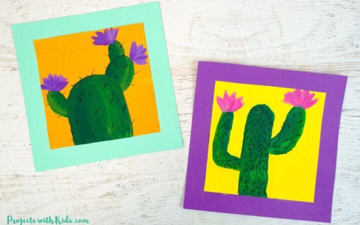 2 cactus paintings on bright colored backgrounds.