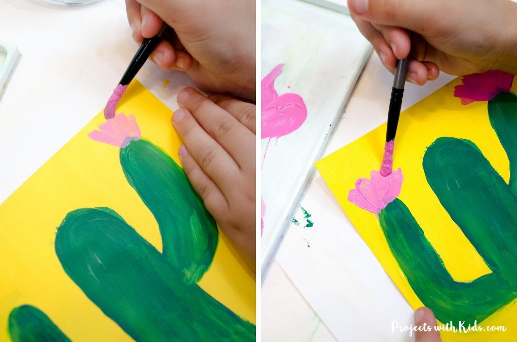 Painting on pink flowers to a green cactus on a yellow background.