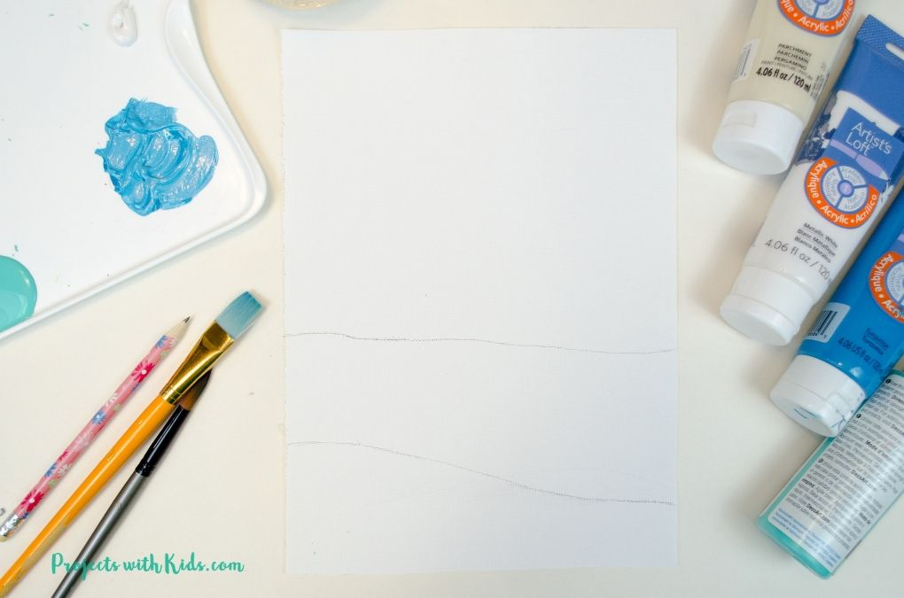White canvas paper with pencil lines drawn in to indicate water and sand.