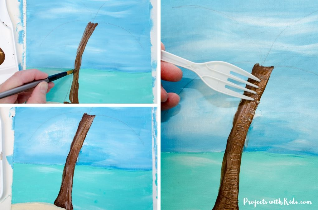 Painting in the trunk of a palm tree and then creating texture with a fork.