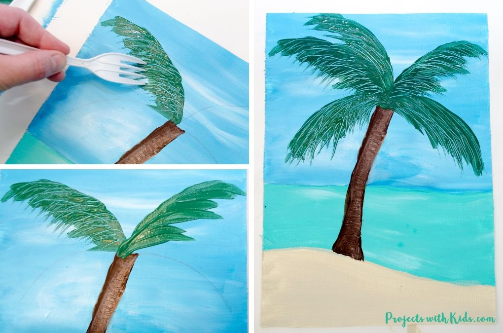 Using a fork to add texture to the palm tree leaves to make the palm tree fork painting.