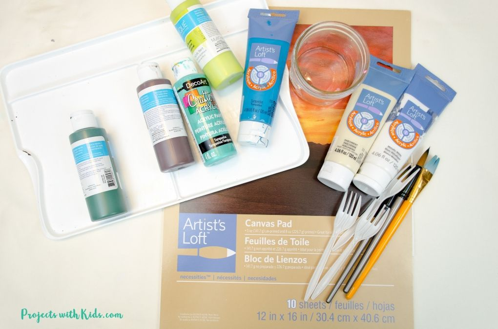 Supplies needed to create a palm tree fork painting, acrylic paint, paper, paintbrushes, plastic fork