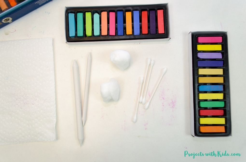 Blending tool, q-tips, cotton balls, chalk pastels.