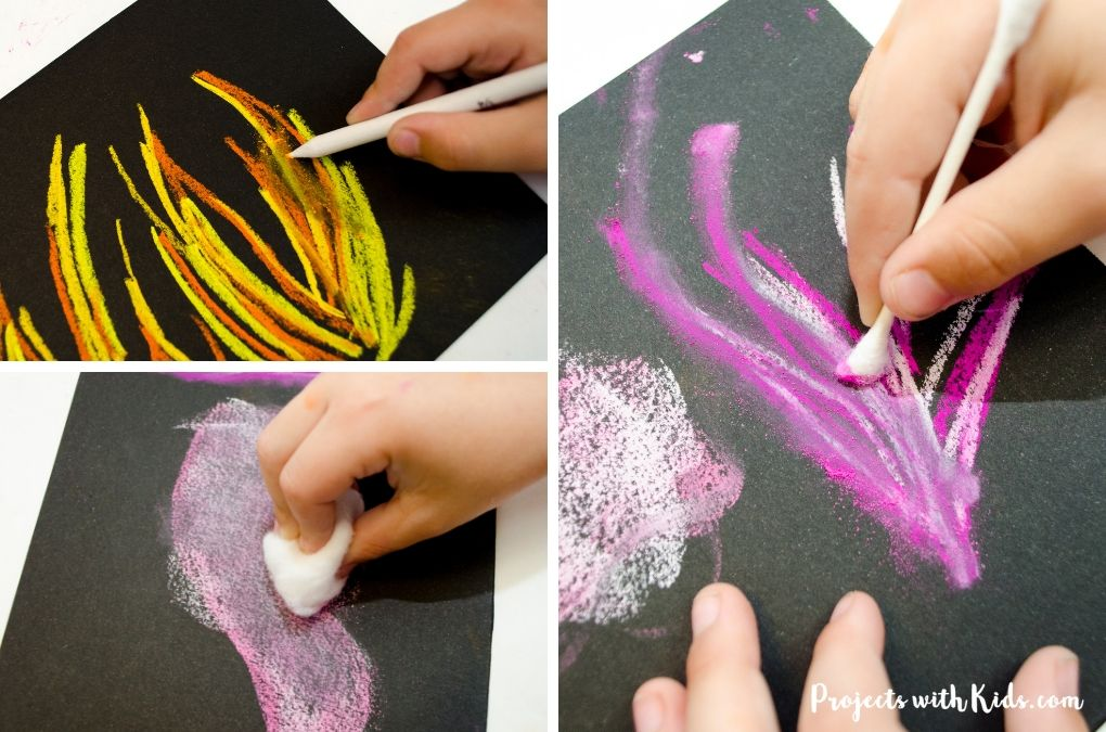 Using a q-tip, cotton ball and blending stick to demonstrate chalk pastel blending techniques.