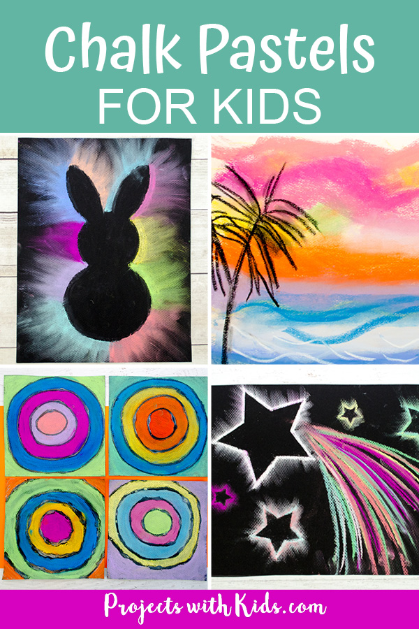 Chalk pastel projects including bunny art, pastel sunsets, Kandinsky inspired pastels, shooting star chalk pastels.