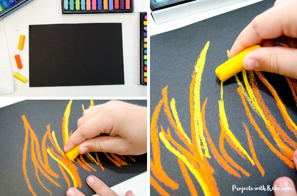 Drawing lines with orange chalk pastels