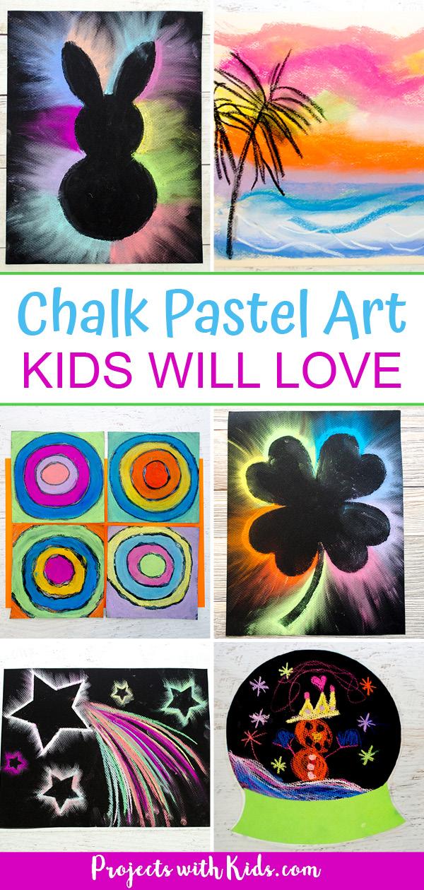 Chalk pastel projects: bunny with chalk pastels, chalk pastel sunset, kandinsky inspired project, pastel shamrock, pastel shooting star, snow globe art project.