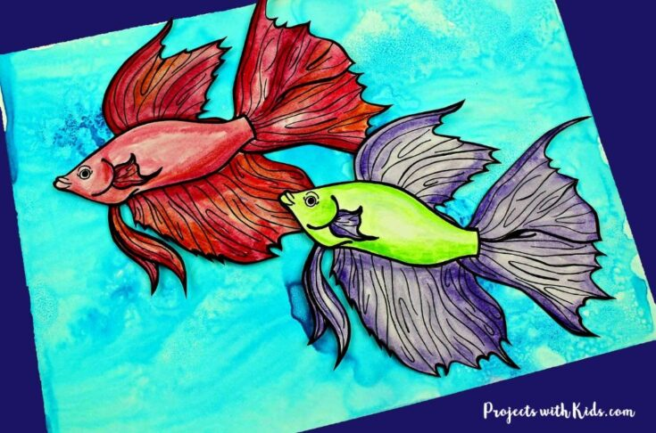 Easy Watercolor Fish Craft with Free Printable Template