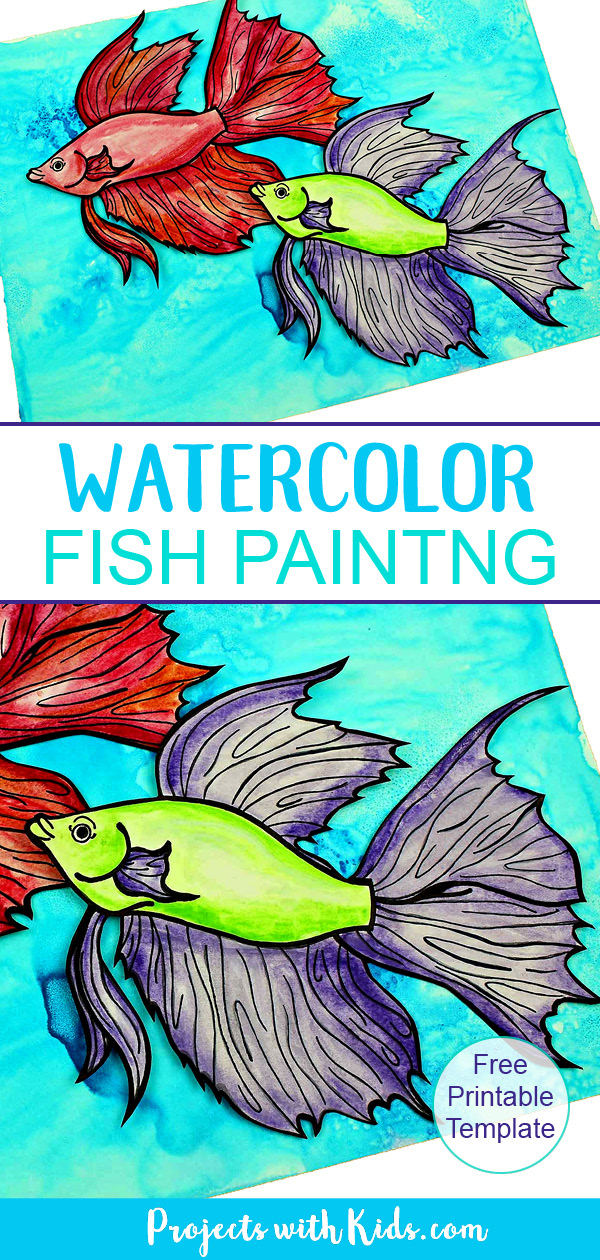 Pinterest image of watercolor fish painting